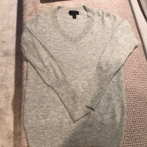 J crew gray v neck cashmere sweater